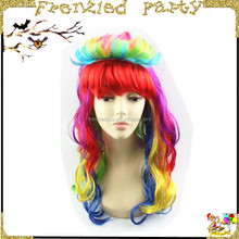 Fashion Women Rainbow Long Curly Wavy party wigs