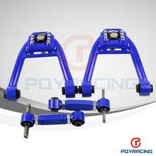 FOR 96-00 CIVIC JDM LX DX EK EJ TUBULAR FRONT UPPER CONTROL ARM TUBE CAMBER KIT + 92-00 Adjustable Rear Camber Arms BLUE