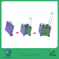 2017 Pack n roll folding trolley cart collapsible foldable wheeled trolley shopping cart