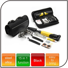 15 in1 functions stainless Alloy professional bike tool bicycle repair tool set for tyre repair inflator