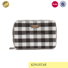 simple fashion check bag women contton cosmetic pouch bag