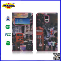 3D sublimation pattern pu leather book flip cover mobile case for galaxy s5 Laudtec