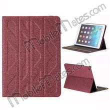 Embossment Design Carpet Fabric Textile Double-faced Foldable Stand Leather Case for iPad Air New Product