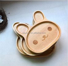 20*20*6.2cm Cute Wood Child 3 Compartment <strong>Plate</strong> Divided Tray Baby Cartoon Rabbit Wood <strong>Plate</strong>