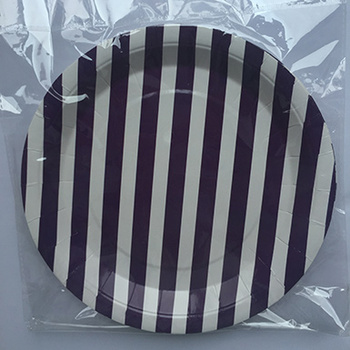 Wholesale promotional colorful disposable black striped luncheon plates birthday party paper plates