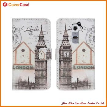 Free Sample Eiffel Tower Big Ben PU Leather Wallet Flip Cover Case for LG G2