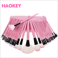 32 PCS Pink Wool custom logo Makeup Brushes Tools Set with PU Leather Case Cosmetic Facial Foundation Make up Brush Kit