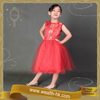 Red colour Chinese Style girls Traditional Evening dresses