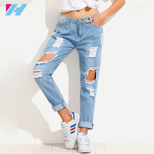 new model jeans pants custom women Blue Distressed ripped denim Jeans woman 2017