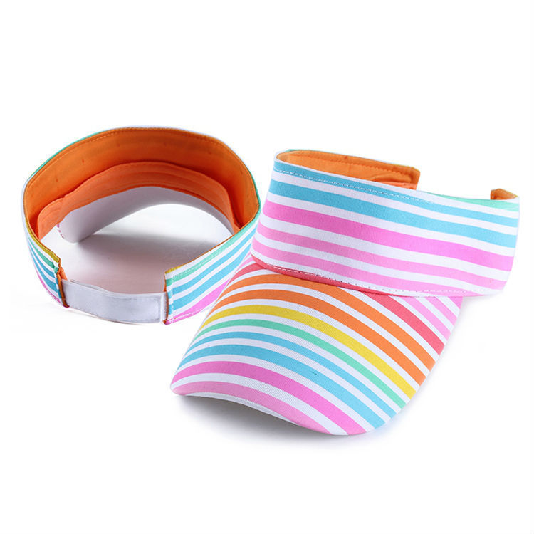 young adult custom rainbow design printing sun shade visor cap