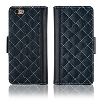 C&T Luxury Flip PU Leather Rhombus Quilted Smart Case for Apple iPhone 6 Plus
