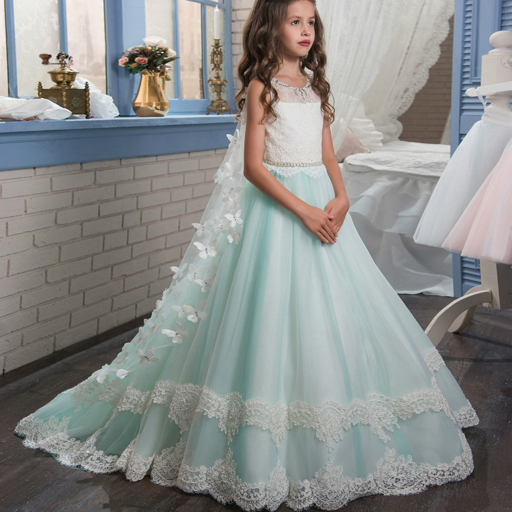 New 2018 tulle lace blue baby bridesmaid flower girl wedding dress ...