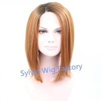Natural looking top ombre honey blond cheap short bob wigs synthetic lace front wig heat resistant for black women