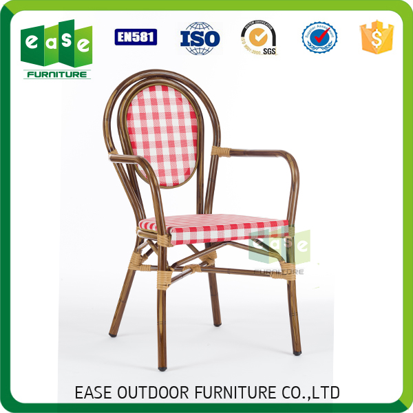 outdoor wooden look paris bistro cafe arm chair E8053