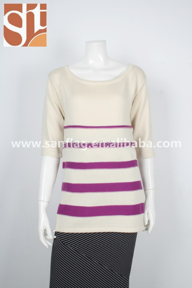 Women heavy sweater for winter pullover half sleeve boat neck stripes knitting sweater