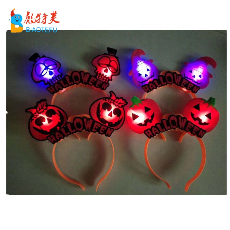 halloween LED plastic skeleton pumpkin headband