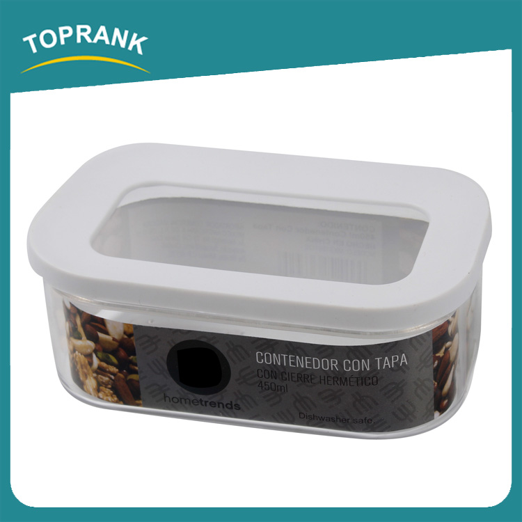 Toprank New Product Promotional Airtight Food Fresh Container 450ml Glass Food Storage Container With Plastic Lid