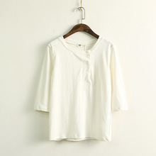 Button design half sleeve 100% cotton plain T shirts blouse ladies