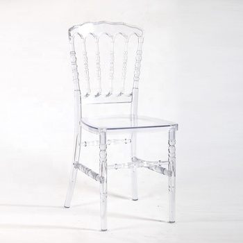 Commercial Crystal Clear Lucite Napoleon Chair for Wedding