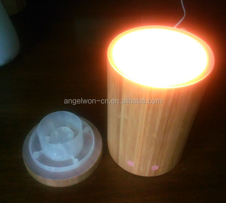 2016 real bamboo aroma diffuser essential oil diffuser ultrasonic mist maker air humidifier with changing LED light
