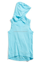 CHEFON Trendy high and low hemline sporty hood stretchy tank top,girls hood top,high low hood top