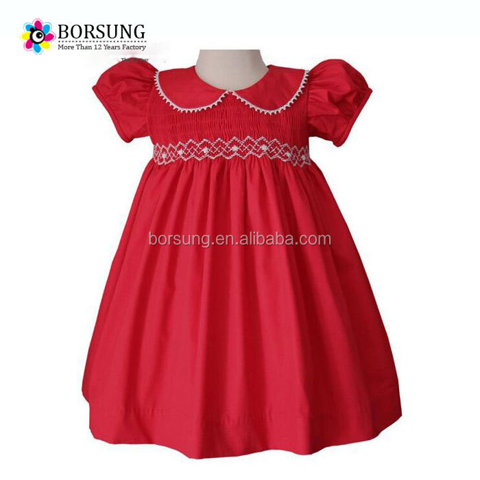 New style girls party dresses hot sale christmas lace smocked puff sleeve baby wear clothes for child