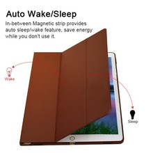 Wake/Sleep Function Microfiber Tablet Litchi Leather Fur Phone Case 12.9inch For Ipad Pro