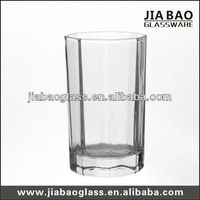 New Style pressed tumblers 8oz short glass whiskey cup clear octagonal drinking glass tumbler