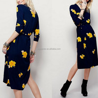 2016 fashion women clothing scoop long sleeve midi maxi dress floral printed made in China OEM