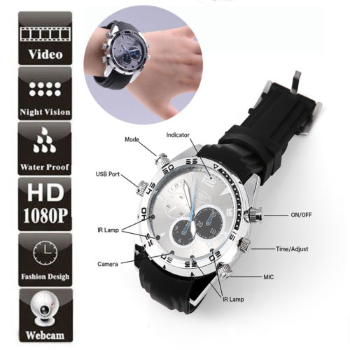 2017 new arrive Spy DV Wrist Watch 1080P Waterproof 8GB Video IR Night Vision Hidden Camera