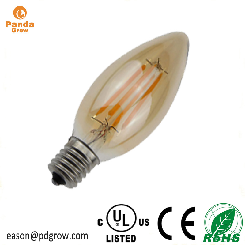 UL Energy Star C35 LED Light Bulb E26 Base 4W Soft/Warm White 2700k