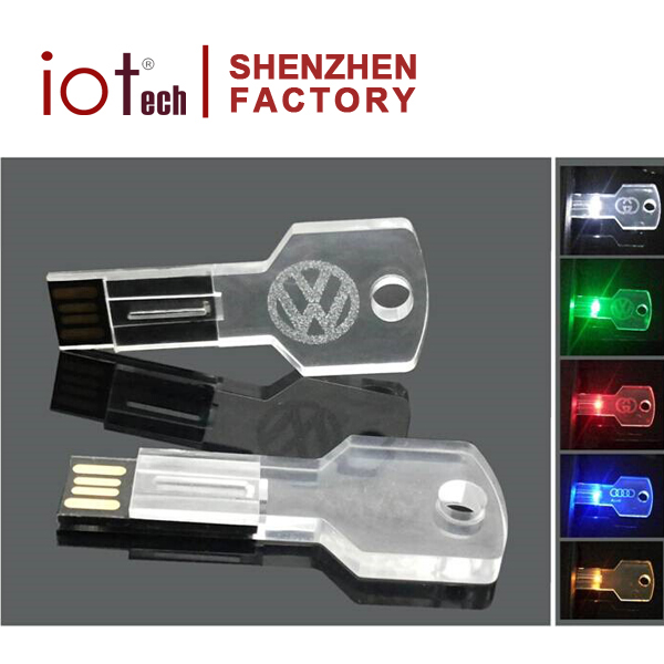 Laser Logo Key Usb Flash Drive 8GB USB 2.0 Memory Stick LED Thumb Drive Crystal Made in China