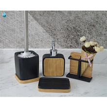 Fashion washroom accessories eco-friendly and natural polyresin bathroom set bath set