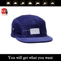 Wholesale Royal Blue Corduroy Plain Applique Logo Flat Brim Custom Blank Wholesale 5 Panel hat