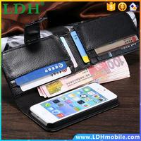 HK Post, Wallet Lychee Leather Case for iphone 5 5S 4 4S 5C for Galaxy S3 S4 Note 3 Litchi Cover, Card Money Slot Folder 10pcs
