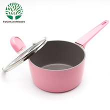 16 cm Cherry Blossom Pink Non Stick Aluminum Milk Pan in Cookware Pans And Pots