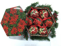 Polyfoam ball wrapped paper, Poinsettia design,crystal&frost finishing,christmas tree decoration