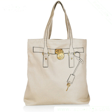 Hot Sell Custom Small Fresh Art White Canvas Women Ladies Tote Bag