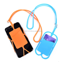 Cell Phone Silicone Wallet Case Credit ID Card Bag rubber Holder Pocket with Lanyard