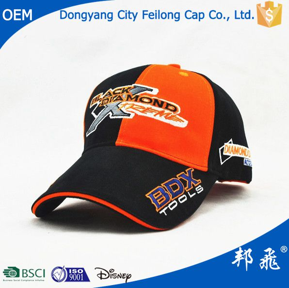 fashion black orange sandwich baseball caps and hats with flat embroidery