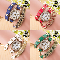 Women Fashion Crystal Bracelet Leather Strap Chain Quartz Wrist Watch