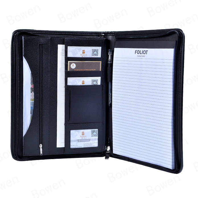 office and school supplies stationery pu leather portfolio with your logo