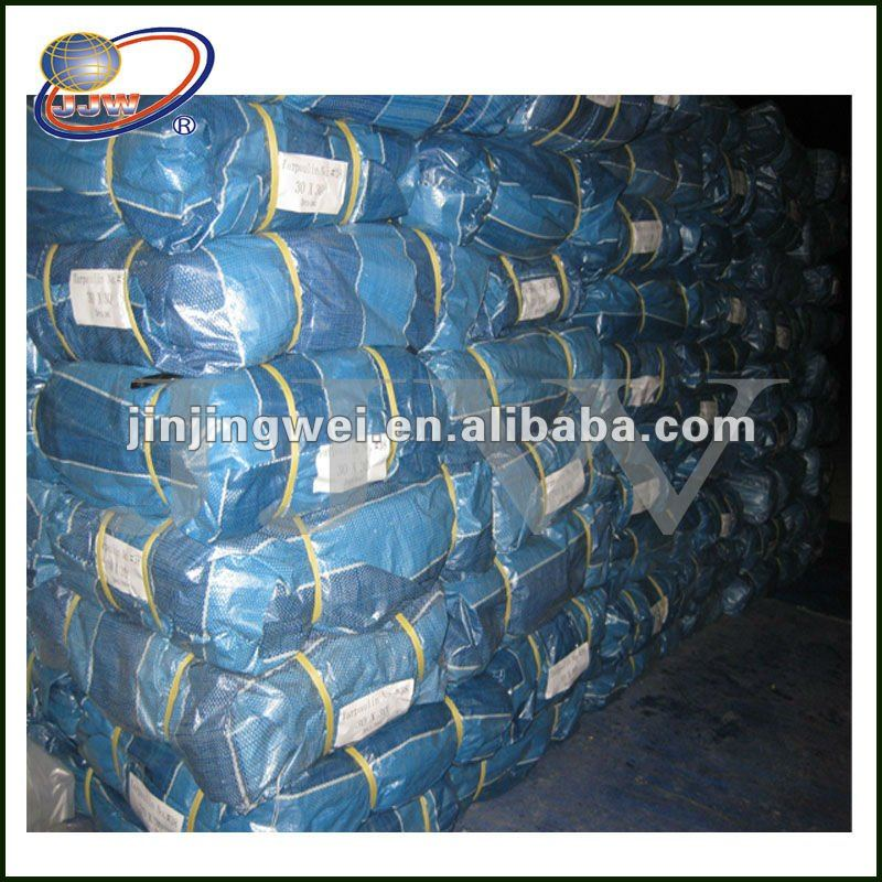 Blue Stripe PE Sheet Bale Tarp pe woven fabric for agriculture mat