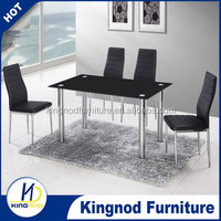 Wholesale Factory Price Dining Room Metal Base Black Glass Dinner Dining Table