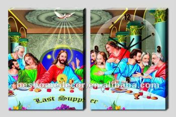 Jesus last supper arts &crafts handmade paintings on canvas wall clock ,gallery home decoration wall clock