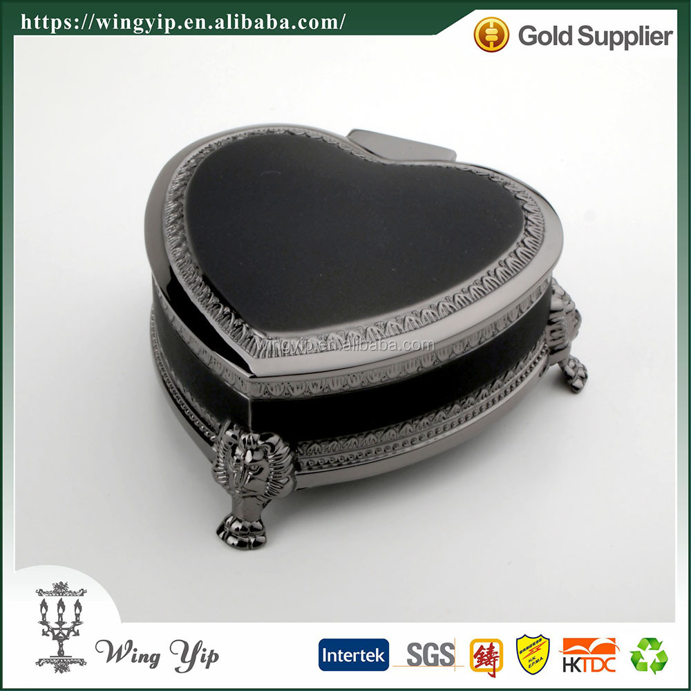 Wholesales OEM and ODM Heart Shape with Foot Black Metal Jewelry box for decoration