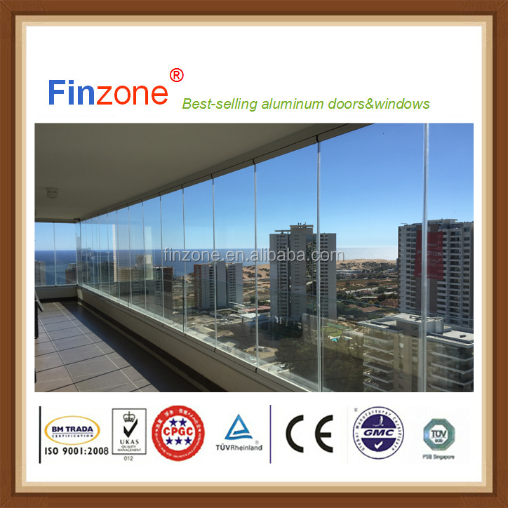 CE standard frameless sliding folding accordion balcony glazing window system