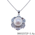 Flower Charm Plant Silver Pendant with Freshwater Pearl DR032572P
