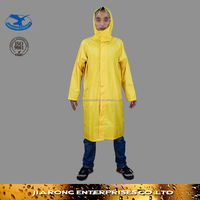 Small MOQ Waterproof Hooded 170T polyeater/PVC Long Raincoat with reflective