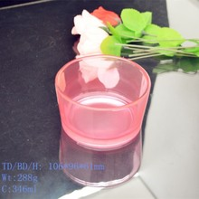 Broad caliber glass candle holder with different color according client need